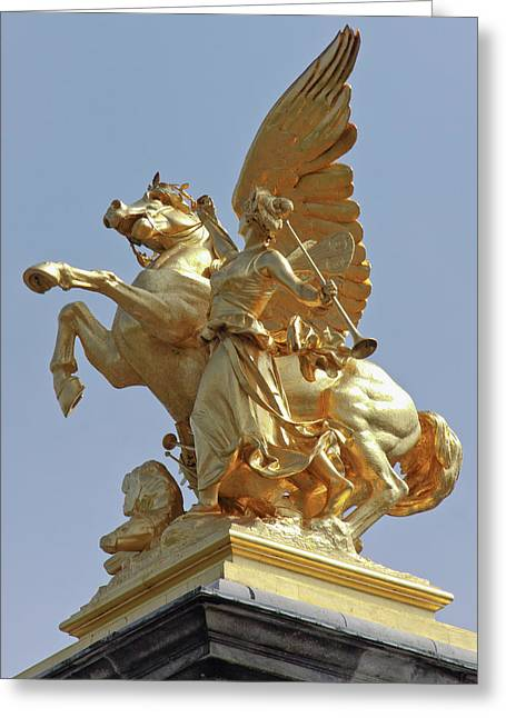 Pegasus Statue At The Pont Alexander Greeting Card by William Sutton