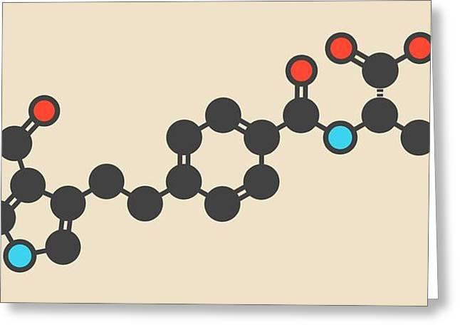 Pemetrexed Lung Cancer Drug Molecule Greeting Card by Molekuul
