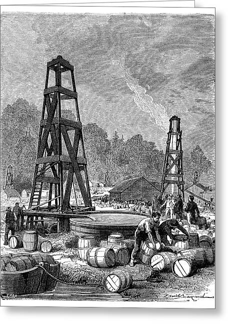 Pennsylvania Oil Rush Greeting Card by Science Photo Library