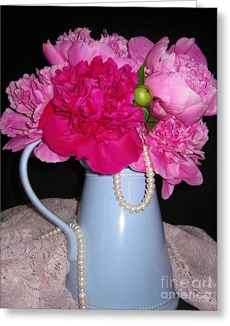 Peonies Pearls And Lace Greeting Card