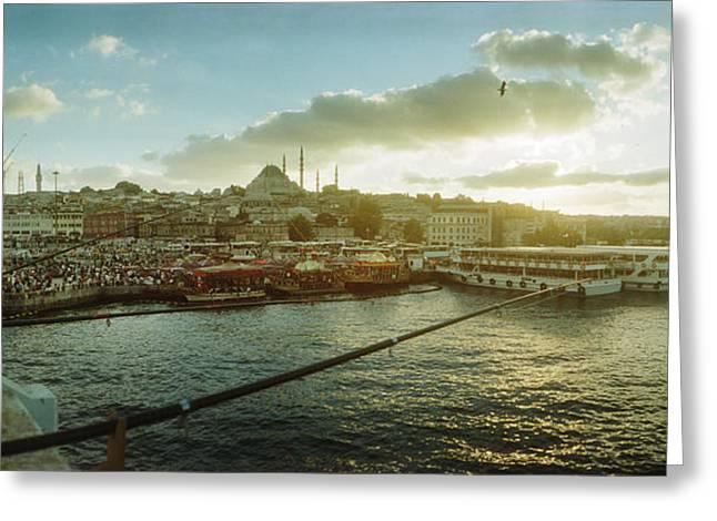 People Fishing In The Bosphorus Strait Greeting Card