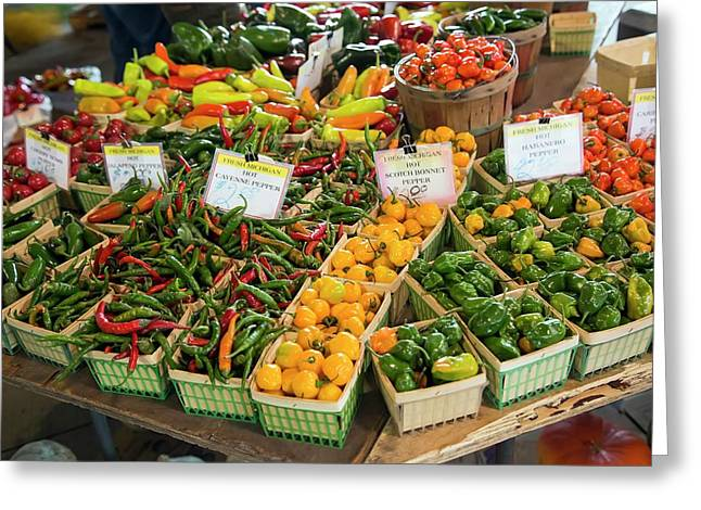 Peppers On A Market Stall Greeting Card