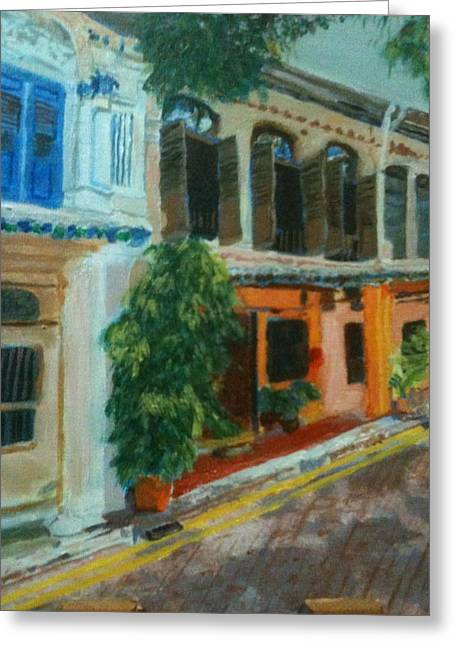 Greeting Card featuring the painting Peranakan House by Belinda Low