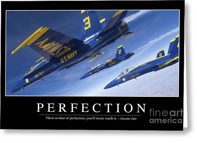 Perfection Inspirational Quote Greeting Card