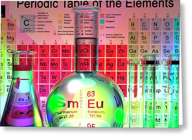 Periodic Table Of The Elements Greeting Card by Carol & Mike Werner