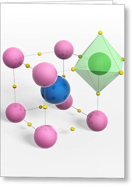 Perovskite Mineral, Molecular Model Greeting Card by Science Photo Library