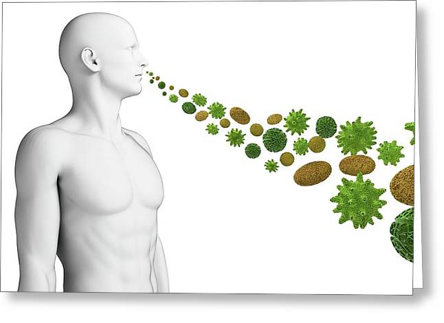 Person Breathing In Pollen Greeting Card by Sebastian Kaulitzki