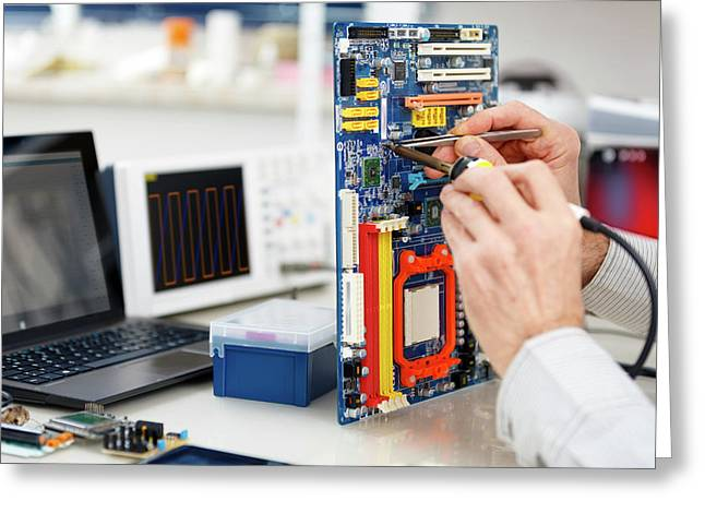 Person Repairing Electronic Circuit Board Greeting Card