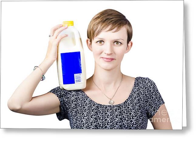 Person With Organic Farm Fresh Milk Greeting Card