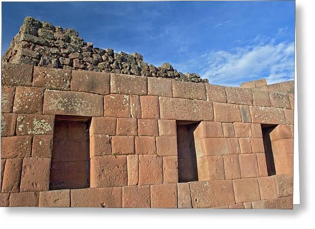 Peru, Pisac, Inca Ruins Greeting Card