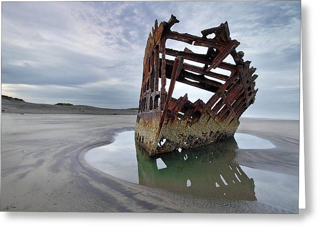 Peter Iredale At Dawn Greeting Card by David Gn