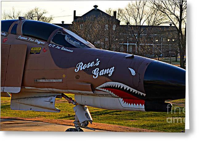 Phantom 4 Jet Vietnam Era Greeting Card by Peggy Franz