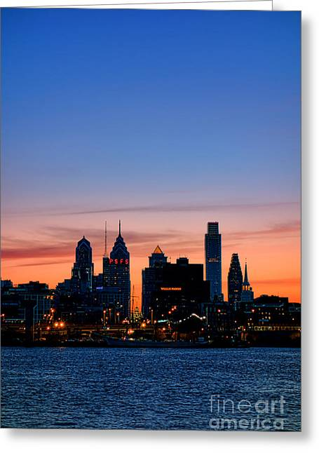 Philadelphia Dusk Greeting Card by Olivier Le Queinec