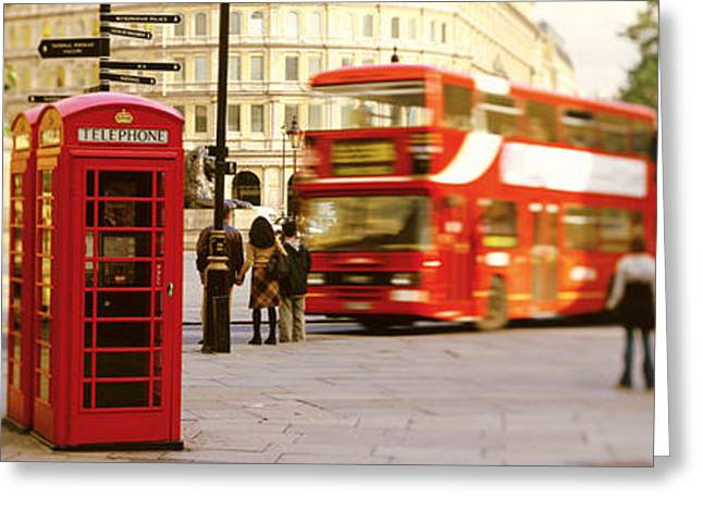 Phone Box, Trafalgar Square Afternoon Greeting Card by Panoramic Images
