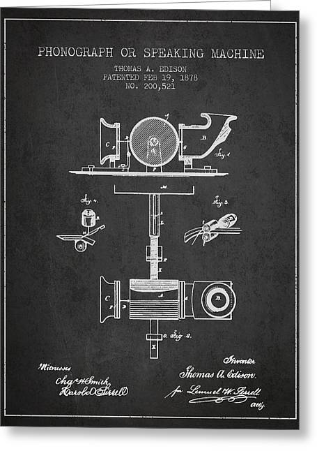 Phonograph Or Speaking Machine Patent Drawing From 1878 Greeting Card