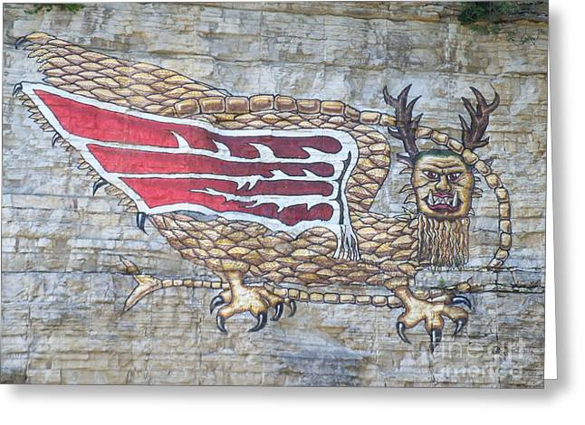 Greeting Card featuring the photograph Piasa Bird by Kelly Awad
