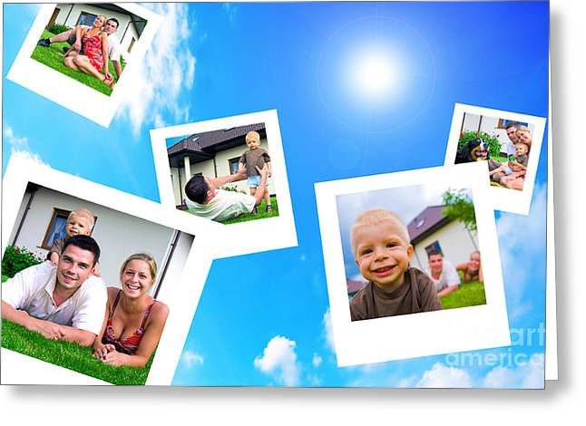 Pictures Of Happy Family Greeting Card by Michal Bednarek