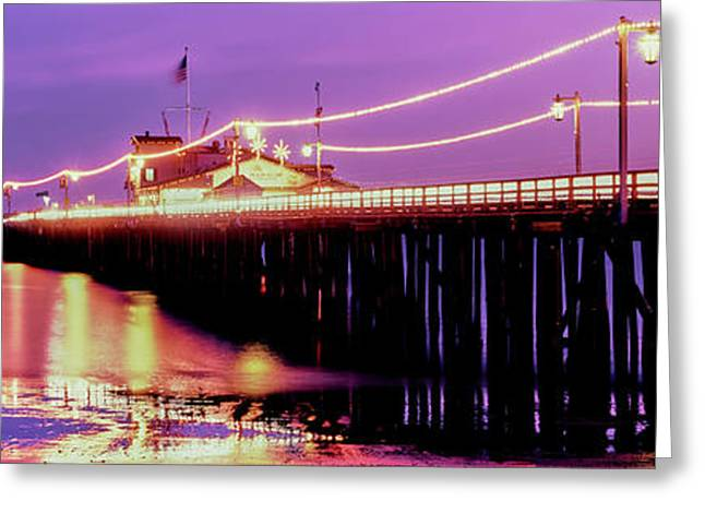 Pier Illuminated At Dusk, Stearns Greeting Card