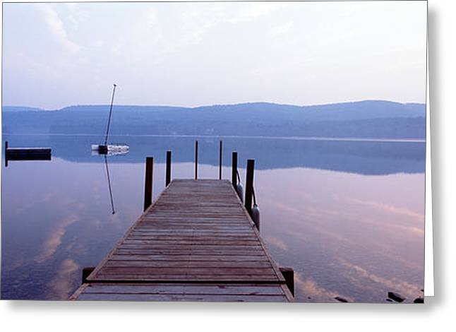 Pier, Pleasant Lake, New Hampshire, Usa Greeting Card by Panoramic Images