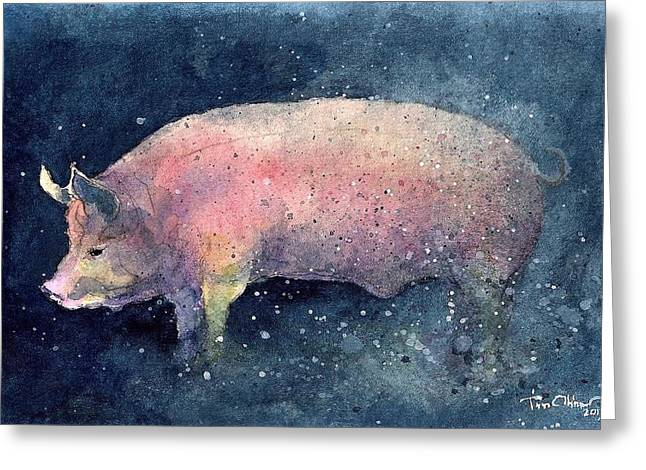Pig Greeting Card by Tim Oliver