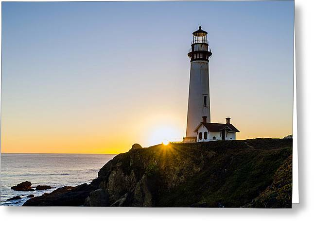 Pigeon Point Lighthouse Greeting Card by Mike Ronnebeck