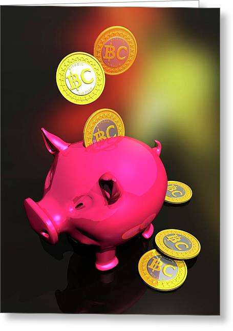 Piggy Bank And Bitcoins Greeting Card by Victor Habbick Visions