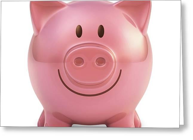 Piggy Bank Greeting Card by Ktsdesign