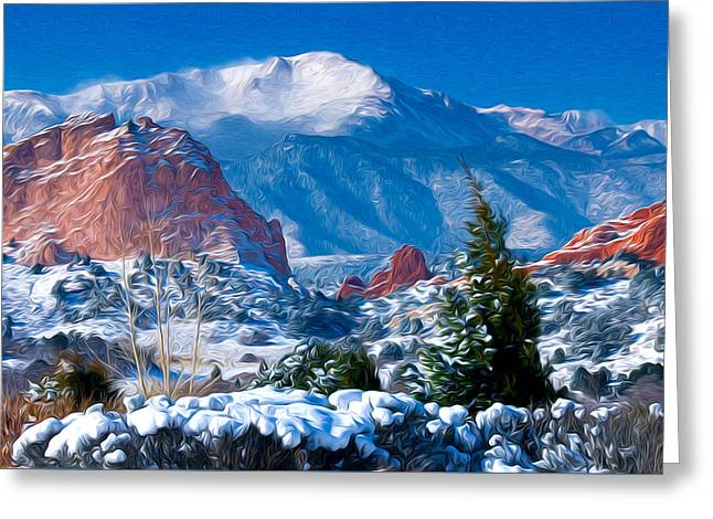 Pikes Peak In Winter Greeting Card by John Hoffman