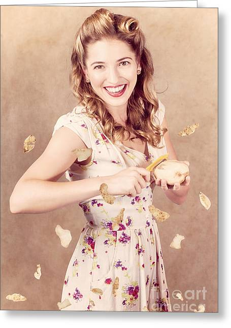 Pin-up Cooking Girl Peeling Potato. Quick Recipe Greeting Card by Jorgo Photography - Wall Art Gallery