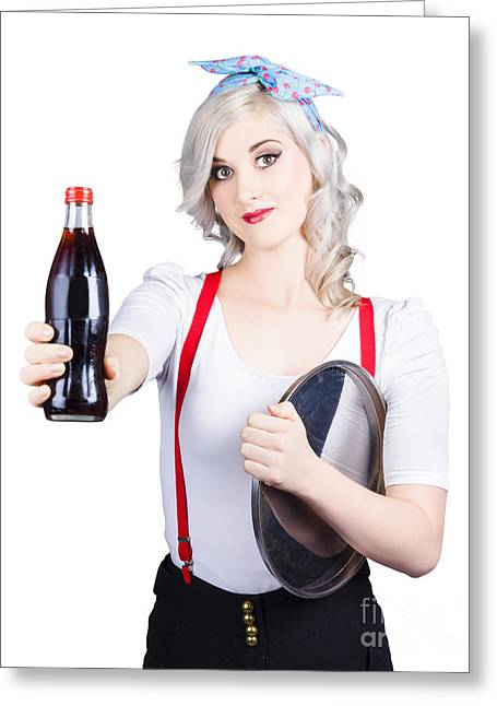 Pin-up Girl Holding Soft Drink Bottle Greeting Card