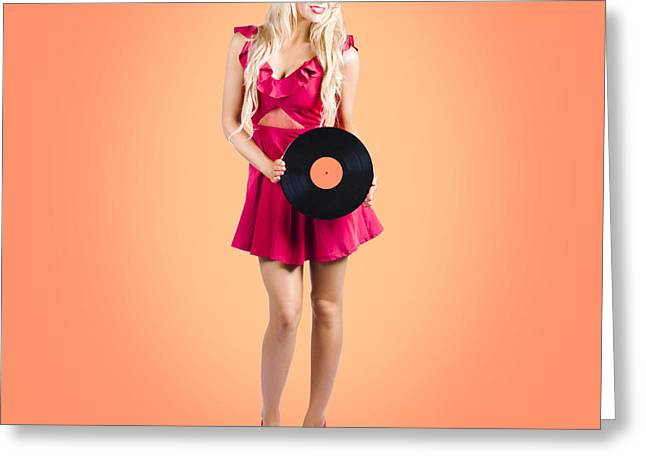 Pin-up Music Girl Holding Vinyl Record Lp Greeting Card by Jorgo Photography - Wall Art Gallery