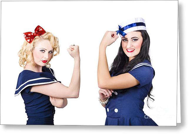 Pin-up Sailor Girls Showing Physical Strength Greeting Card by Jorgo Photography - Wall Art Gallery