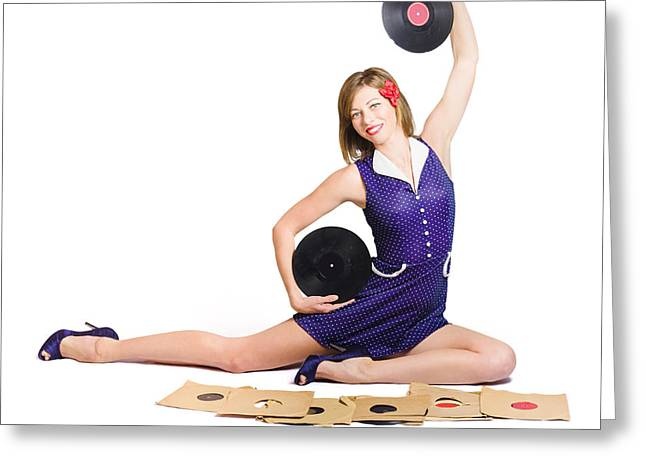 Pin-up Woman Balancing Sound With Record Music Greeting Card by Jorgo Photography - Wall Art Gallery