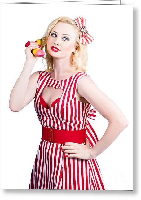 Pin Up Woman Ordering Organic Food On Banana Phone Greeting Card by Jorgo Photography - Wall Art Gallery