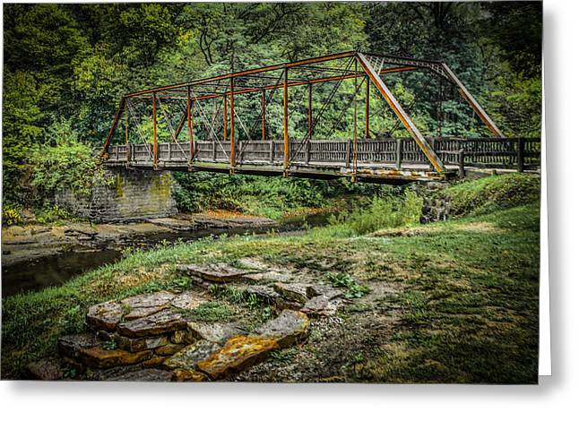 Pine Creek Bridge Greeting Card by Ray Congrove