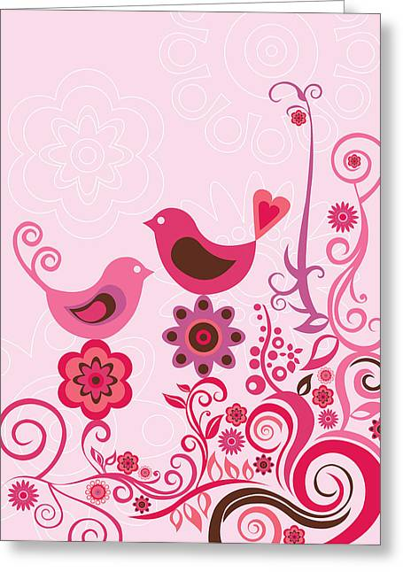 Pink Birds And Ornaments Greeting Card by Valentina Ramos