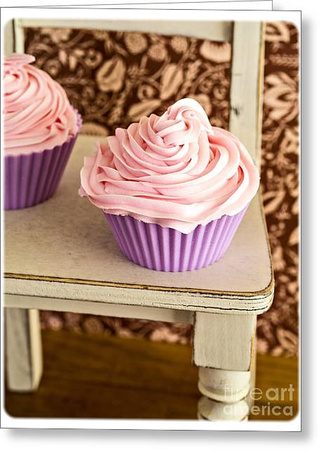 Pink Cupcakes Greeting Card by Edward Fielding