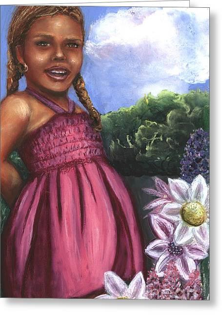 Pink Dress Greeting Card by Alga Washington