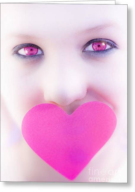 Pink Eyed Woman And Love Heart Greeting Card by Jorgo Photography - Wall Art Gallery