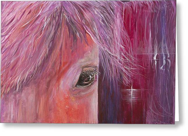 Greeting Card featuring the painting Pink Pony by Cathy Long