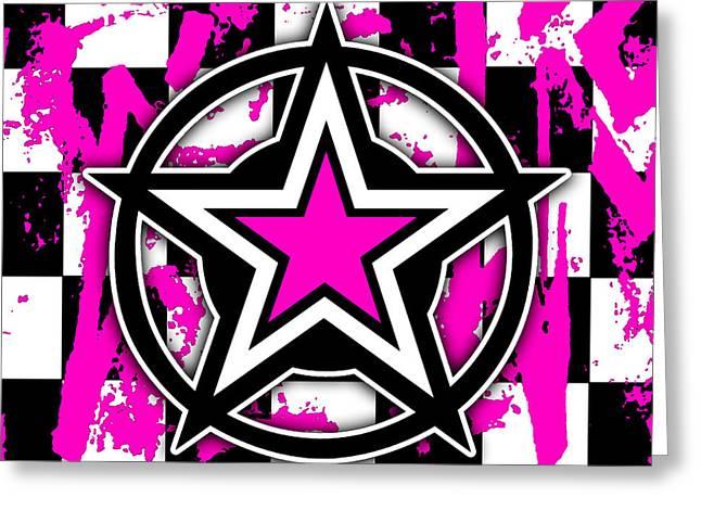 Pink Star Checkerboard Greeting Card by Roseanne Jones