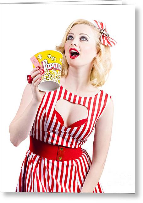Pinup Cinema Girl At Box Office Movie Premiere Greeting Card