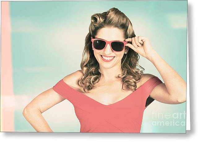 Pinup Girl Fashion Model Wearing Summer Sunglasses Greeting Card by Jorgo Photography - Wall Art Gallery