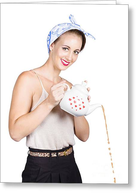 Pinup Girl Pouring Coffee Greeting Card by Jorgo Photography - Wall Art Gallery