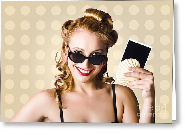 Pinup Girl Showing World Travel Holiday Photo Greeting Card by Jorgo Photography - Wall Art Gallery