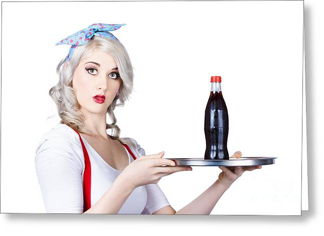 Pinup Girl Waiter Holding Silver Soda Tray Greeting Card by Jorgo Photography - Wall Art Gallery