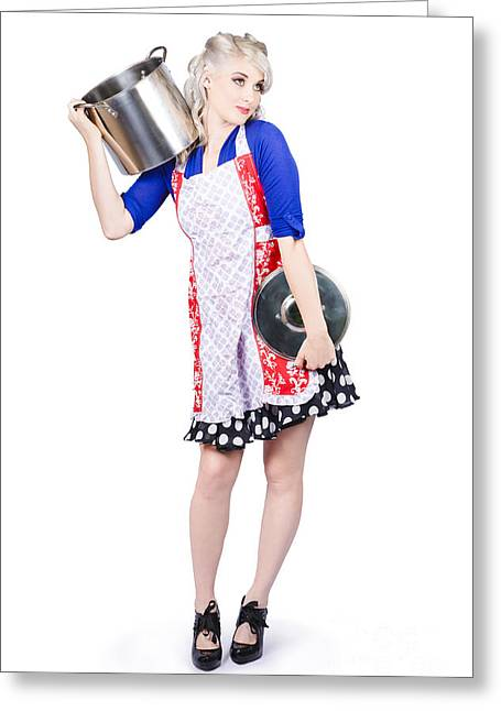 Pinup Housewife With A Cooking Pot Greeting Card by Jorgo Photography - Wall Art Gallery