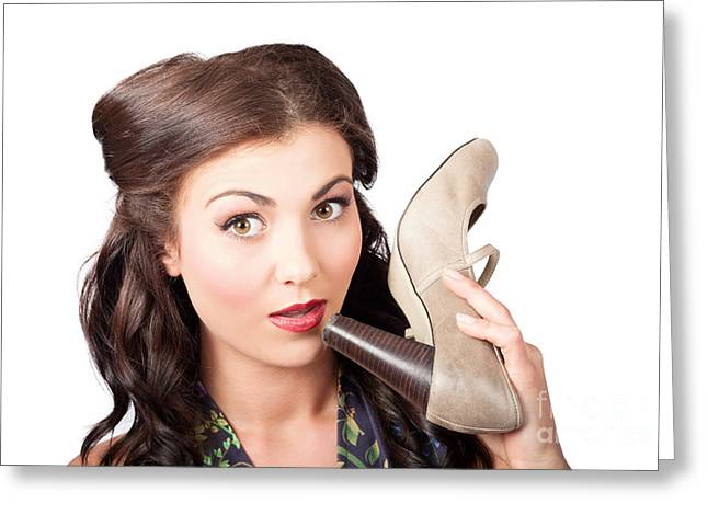 Pinup Vintage Woman Chatting On Shoe Phone Greeting Card by Jorgo Photography - Wall Art Gallery