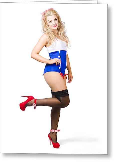 Pinup Woman In Sailor Swimsuit On White Wall Greeting Card by Jorgo Photography - Wall Art Gallery