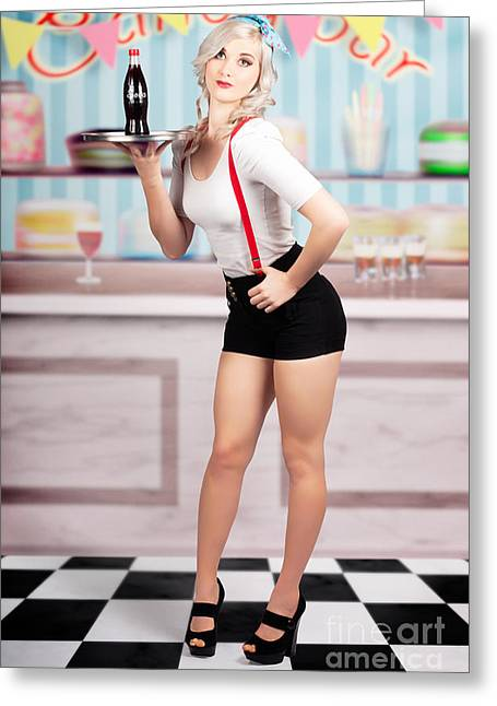 Pinup Woman Serving Drinks At Vintage Candy Bar Greeting Card
